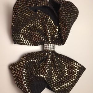 Shiny gold 6 inch hair bow with rhinestones